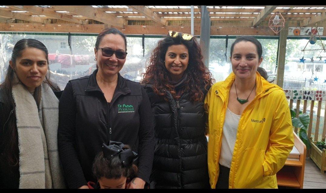 Left Jamie Ferguson, Liz Ferris (Centre manager & Child facility partner at Te Papapa Preschool) Arunima Dhingra and Johana Te Momo founders of Gratitude NZ